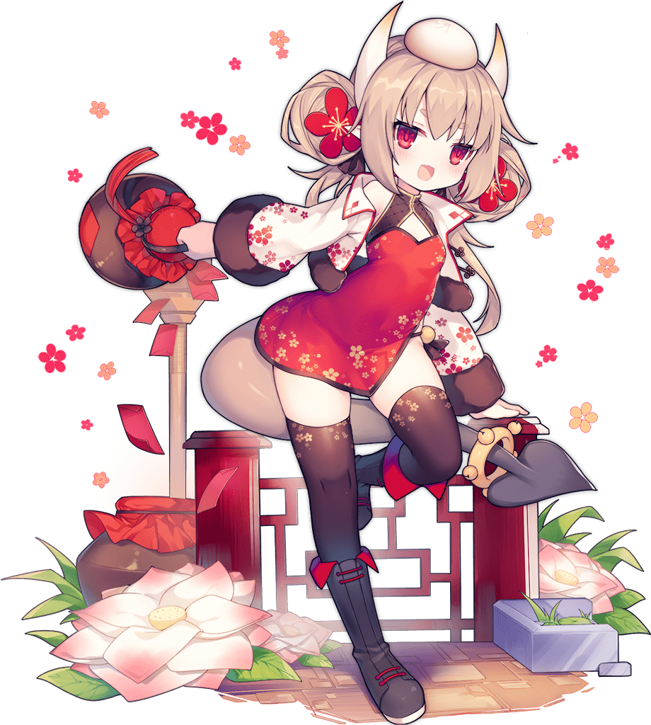 1girl ao_jun ark_order bangs baozi bell black_footwear black_legwear boots brown_hair china_dress chinese_clothes cleavage_cutout clothing_cutout demon_tail double_bun dress flat_chest flower food food_on_head fur-trimmed_jacket fur-trimmed_sleeves fur_trim hair_flower hair_ornament hongbao horns jacket jar jingle_bell long_hair long_sleeves lotus object_on_head official_art red_dress red_eyes red_flower sidelocks solo tachi-e tail tail_ornament thigh-highs transparent_background white_jacket wooden_floor year_(ark_order)