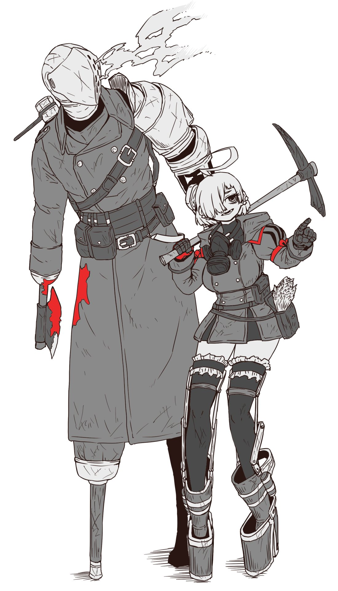 1boy 1girl ahoge asymmetrical_arms axe blood blood_on_clothes blood_splatter breasts crutch cyborg eyebrows father_and_daughter gas_mask gloves hair_over_one_eye helmet highres holding holding_weapon indie_virtual_youtuber jacket jinzou_(homunculus_no_jinzou) knight large_breasts limited_palette mask mechanical_arms military_jacket parent_and_child peg_leg pickaxe pocket pointing puffy_sleeves red_gloves steam steampunk thigh-highs thighs v_no_name_(vtuber) virtual_youtuber weapon weeds white_background zyugoya