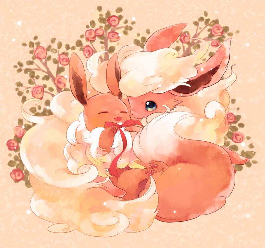 animal baby bad_id eevee flareon flower no_humans pokemon ribbon
