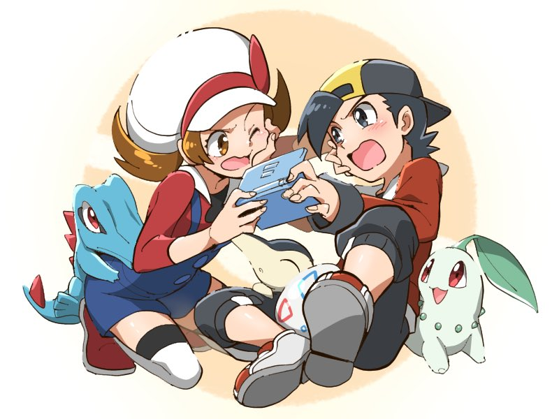 1boy 1girl backwards_hat bangs baseball_cap black_hair black_pants blue_overalls blush bow brown_eyes brown_hair cabbie_hat chikorita commentary_request cyndaquil egg ethan_(pokemon) eye_contact eyelashes handheld_game_console hat hat_bow holding holding_handheld_game_console jacket kneeling long_hair looking_at_another lyra_(pokemon) nagi_(exsit00) nintendo_ds_lite one_eye_closed open_mouth pants pokemon pokemon_(creature) pokemon_(game) pokemon_egg pokemon_hgss red_bow red_footwear red_jacket red_shirt shirt shoes starter_pokemon_trio thigh-highs togepi_egg tongue totodile twintails white_footwear white_headwear white_legwear