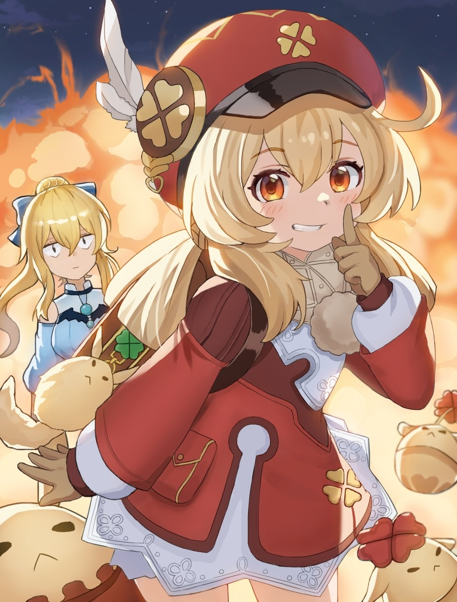 2girls :d ahoge backpack bag bag_charm bangs bloomers bow brown_gloves brown_scarf cabbie_hat charm_(object) clover_print coat commentary_request detached_sleeves dodoco_(genshin_impact) explosion eyebrows_visible_through_hair finger_to_mouth genshin_impact gloves grin hair_between_eyes hair_bow hair_ribbon hat index_finger_raised jean_(genshin_impact) jean_(sea_breeze_dandelion)_(genshin_impact) jumpy_dumpty klee_(genshin_impact) light_brown_hair long_hair long_sleeves looking_at_viewer low_twintails multiple_girls open_mouth orange_eyes pocket pointy_ears randoseru red_coat red_headwear ribbon scarf sidelocks smile twintails underwear woodpecker_(alsdndlekd)