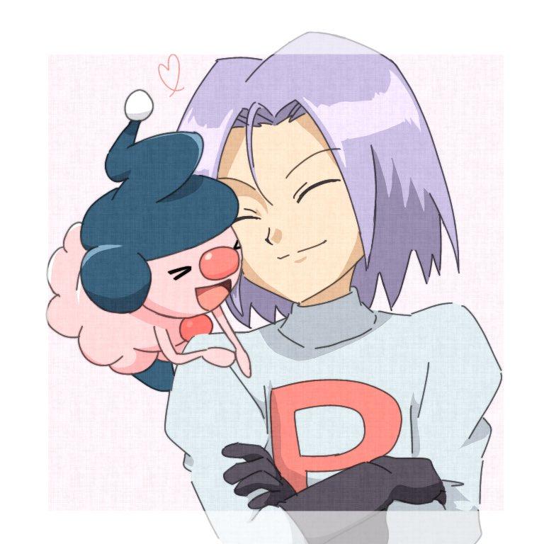 1boy closed_eyes closed_mouth crossed_arms james_(pokemon) male_focus mime_jr. pokemon pokemon_(anime) pokemon_(creature) purple_hair smile taruto0