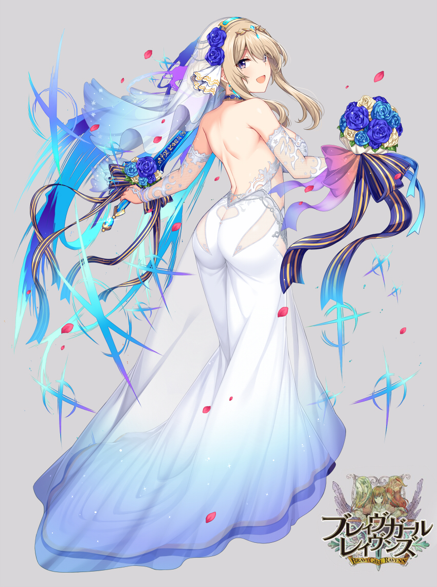 1girl ass back bangs blue_flower blue_rose bouquet brave_girl_ravens breasts bridal_veil circlet commentary_request copyright_name dress floating_hair flower from_behind full_body grey_background holding holding_bouquet horosuke kairi_(brave_girl_ravens) large_breasts looking_at_viewer looking_back official_art open_mouth petals purple_flower purple_rose rose see-through sidelocks simple_background smile solo veil violet_eyes wedding_dress white_dress white_flower white_rose