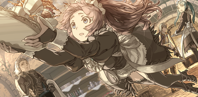 2boys 2girls apron aqua_hair armor backless_dress backless_outfit bangs black_dress black_eyes black_footwear black_legwear black_skirt blue_eyes bottle bridal_gauntlets butler candle closed_mouth cup dress falling feather_trim felicia_(fire_emblem) fire_emblem fire_emblem_fates fireplace flora_(fire_emblem) frills gunter_(fire_emblem) hair_between_eyes harusame_(rueken) high_heels holding holding_tray indoors interior jacket jakob_(fire_emblem) juliet_sleeves long_hair long_sleeves looking_at_another looking_back maid maid_apron maid_headdress multiple_boys multiple_girls open_mouth pink_hair ponytail pot puffy_sleeves saucer scar scar_on_face shelf short_hair shoulder_armor siblings silver_hair sisters skirt teacup teapot thigh-highs tray tripping twintails waist_apron white_apron zettai_ryouiki