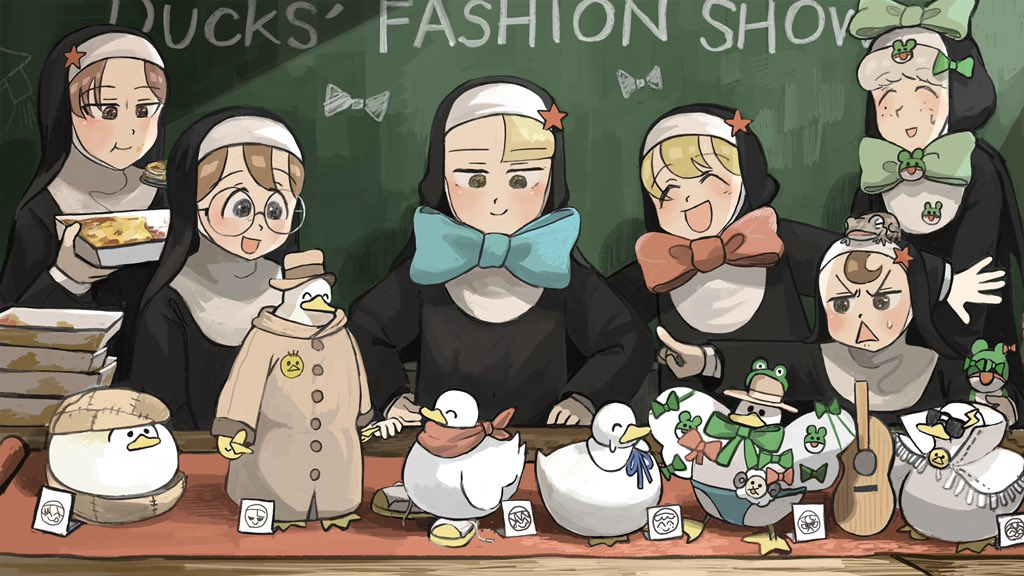 6+girls :d :t ^_^ animal_on_head aqua_neckwear bird blonde_hair blue_eyes blue_neckwear bow bowtie brown_eyes brown_hair capelet cardboard carpet catholic chalkboard chicken closed_eyes commentary detached_collar diva_(hyxpk) doll duck duckling eating empty_plate english_commentary fedora freckles frog frog_headband glasses glasses_nun_(diva) gluttonous_nun_(diva) green_bow green_neckwear grey_hair guitar habit hair_bow half-bang_nun_(diva) hands_on_hips hat high_collar holding holding_plate holding_spoon hook-bang_nun_(diva) instrument lasagna_(food) lightning_bolt_symbol little_nuns_(diva) male_swimwear multiple_girls nun on_head open_mouth out_of_frame outstretched_arms plate pointing protagonist_nun_(diva) red_capelet red_eyes red_neckwear red_scarf redhead scarf sheep_nun_(diva) shoes smile sneakers spoon spread_arms spread_wings star_(symbol) straw_hat sunglasses sweatdrop swim_briefs trench_coat triangle_mouth yellow_eyes