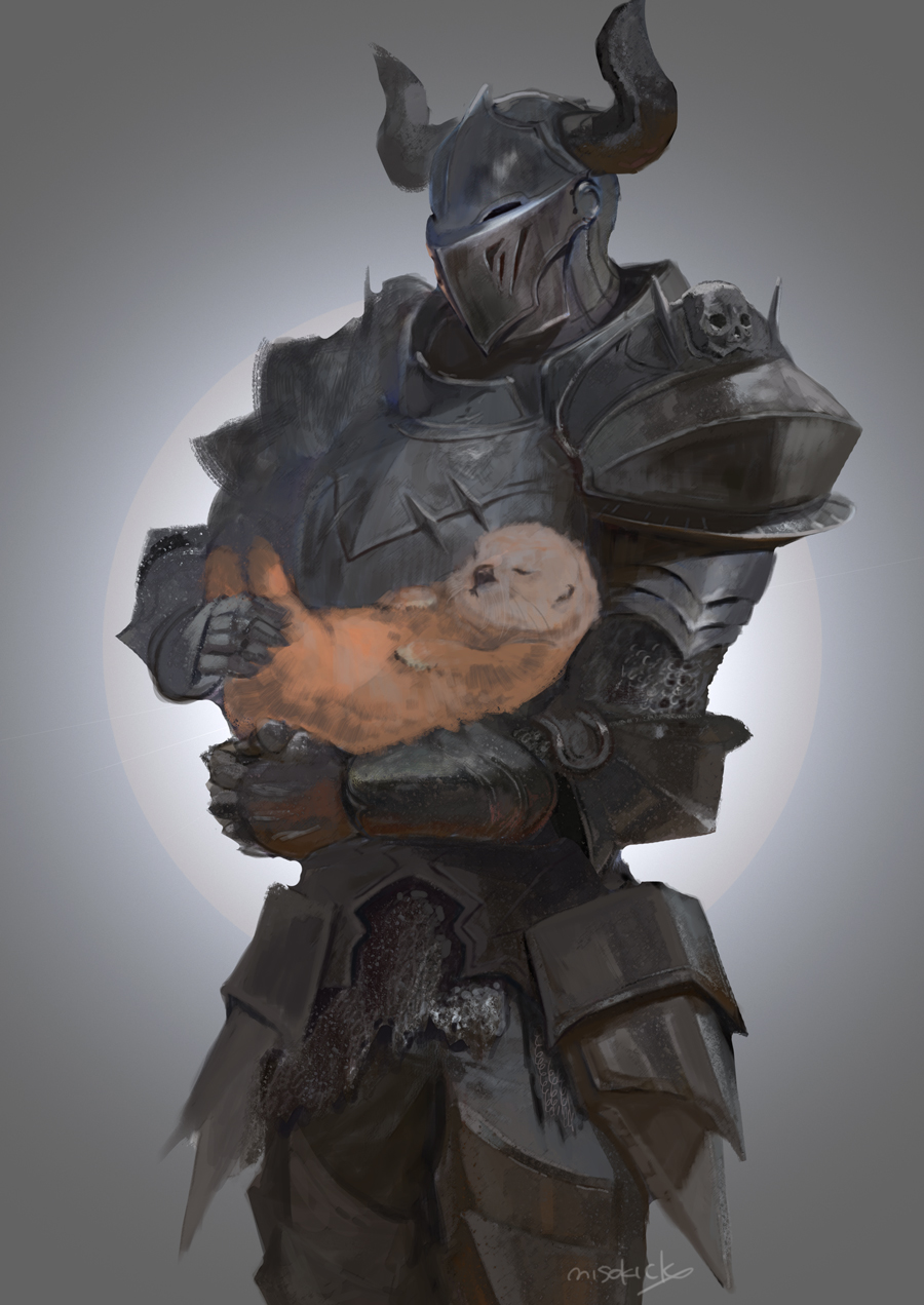 1other ambiguous_gender animal armor breastplate commentary_request copyright_request covered_face cowboy_shot fake_horns faulds full_armor gauntlets greaves helmet highres holding holding_animal horned_helmet horns miso_katsu otter pauldrons plate_armor shoulder_armor signature solo standing