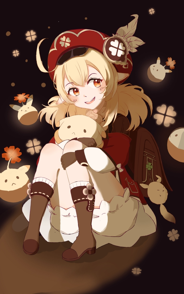 1girl ahoge backpack bag bag_charm bangs black_background bloomers boots brown_footwear brown_gloves brown_scarf cabbie_hat charm_(object) clover_print coat commentary_request dodoco_(genshin_impact) doll_hug eyebrows_visible_through_hair genshin_impact gloves hair_between_eyes hat hat_feather hat_ornament jumpy_dumpty klee_(genshin_impact) knee_boots kneehighs knees_together_feet_apart light_brown_hair long_hair long_sleeves looking_at_viewer low_twintails lris_ci object_hug orange_eyes pocket pointy_ears randoseru red_coat red_headwear scarf sidelocks simple_background sitting solo stuffed_animal stuffed_toy twintails underwear
