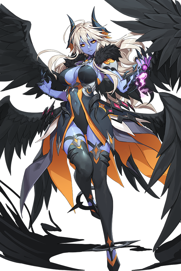 1girl alkyde_(soccer_spirits) angel_wings ass_visible_through_thighs black_leotard black_sclera blue_skin boots breasts catharsis_(soccer_spirits) claws colored_sclera colored_skin dark_persona demon_girl demon_horns fallen_angel high_heel_boots high_heels horns large_breasts leotard long_hair looking_at_viewer looking_to_the_side multiple_wings pantyhose soccer_spirits thigh-highs vakasatang white_background white_hair wings yellow_eyes
