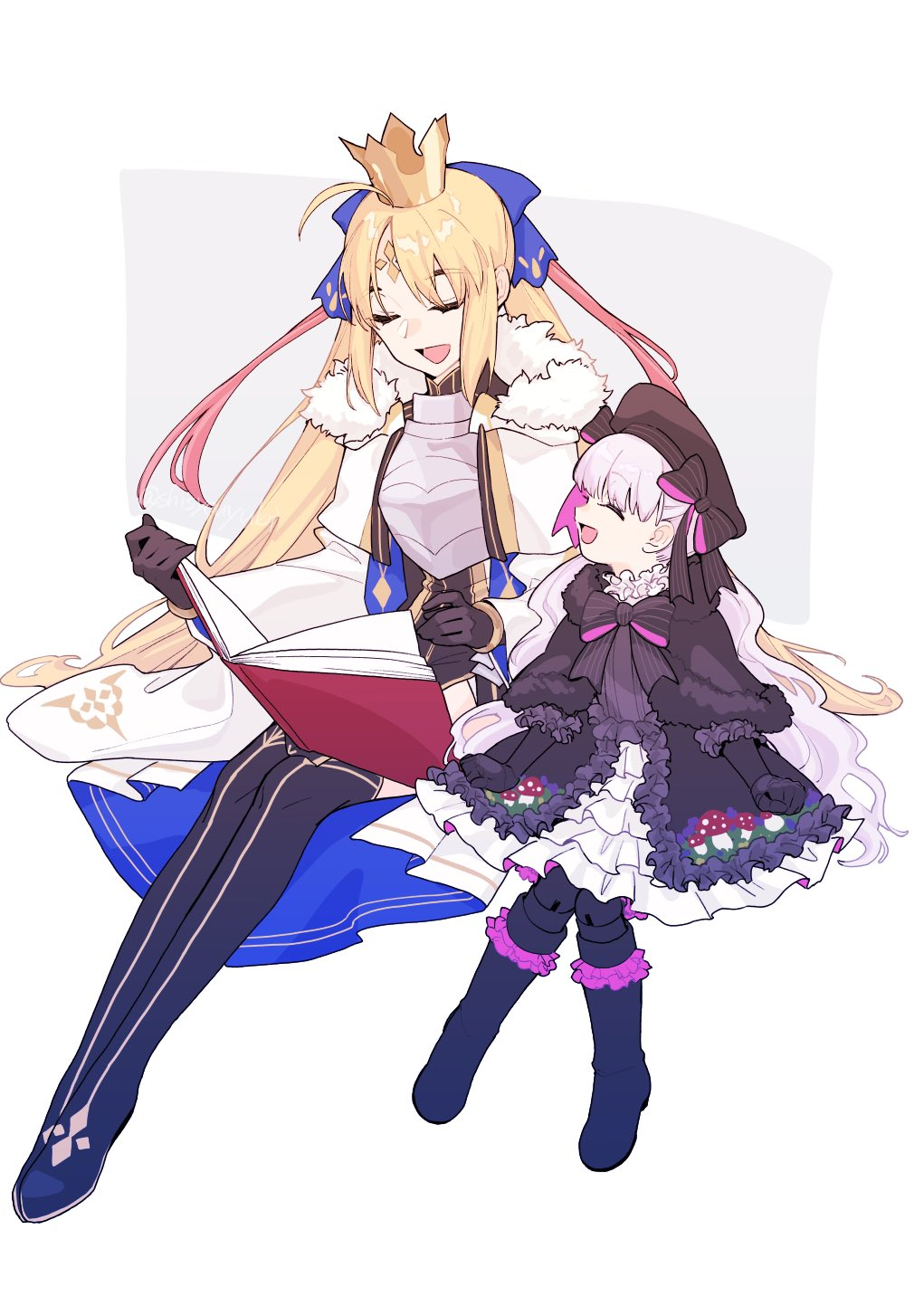2girls ahoge armor armored_dress artoria_pendragon_(caster)_(fate) artoria_pendragon_(fate) bangs black_bow black_capelet black_dress black_footwear black_gloves black_headwear black_legwear black_neckwear blonde_hair blue_bow book boots bow bowtie breastplate capelet closed_eyes commentary_request crown dress elbow_gloves eyebrows_visible_through_hair facial_mark fate/extra fate/grand_order fate_(series) forehead_mark frilled_skirt frills fur-trimmed_capelet fur_trim gloves hair_bow hair_ribbon hat highres holding holding_book long_hair multiple_girls mushroom nursery_rhyme_(fate) open_book open_mouth parted_bangs red_ribbon ribbon shayubi sidelocks sitting skirt smile tongue twintails very_long_hair wavy_hair white_background white_capelet white_dress white_hair wide_sleeves