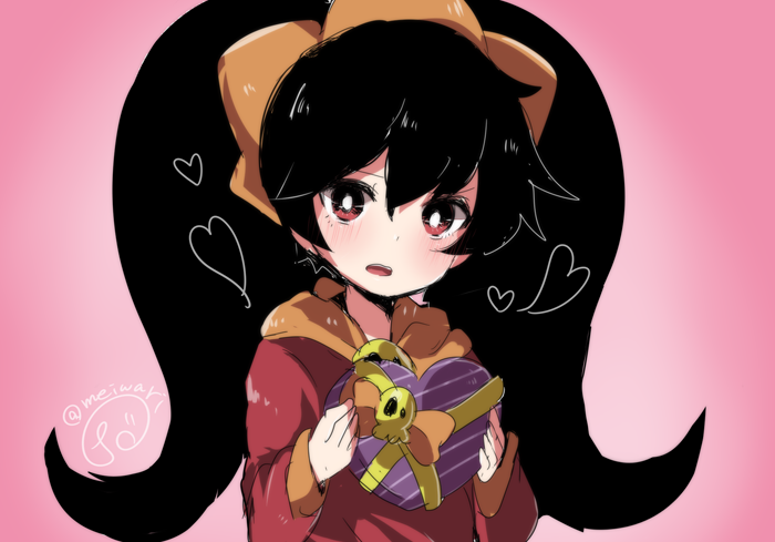 1girl ashley_(warioware) black_hair box bright_pupils commentary_request dress food-themed_hair_ornament hair_ornament heart-shaped_box herunia_kokuoji holding holding_box open_mouth orange_hair_ornament pink_background red_dress red_eyes signature simple_background skull solo twintails upper_body warioware white_pupils