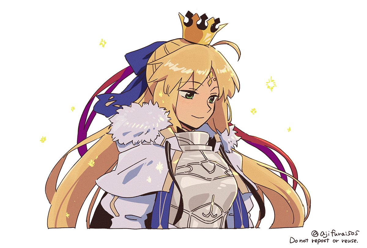 1girl armor artoria_pendragon_(caster)_(fate) artoria_pendragon_(fate) asaya_minoru blonde_hair breastplate capelet closed_mouth cropped_torso crown english_text facial_mark fate/grand_order fate_(series) forehead_mark fur-trimmed_capelet fur_trim green_eyes long_hair looking_away mini_crown puffy_sleeves smile solo twitter_username upper_body very_long_hair watermark white_capelet