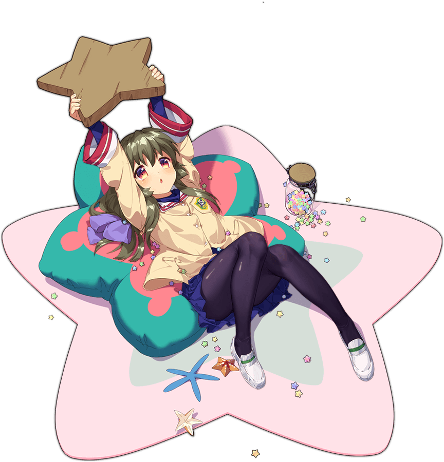 1girl ark_order artist_request bangs beige_jacket black_legwear blue_shirt blue_skirt bow candy carpet clannad food full_body green_hair hair_bow hikarizaka_private_high_school_uniform holding holding_star ibuki_fuuko jacket jar knees_together_feet_apart konpeitou long_hair long_sleeves low-tied_long_hair lying multicolored multicolored_eyes official_art on_back pantyhose pillow school_uniform shiny shiny_clothes shiny_legwear shirt shoes sidelocks skirt solo star_(symbol) star_pillow starfish tachi-e transparent_background triangle_mouth uwabaki white_footwear