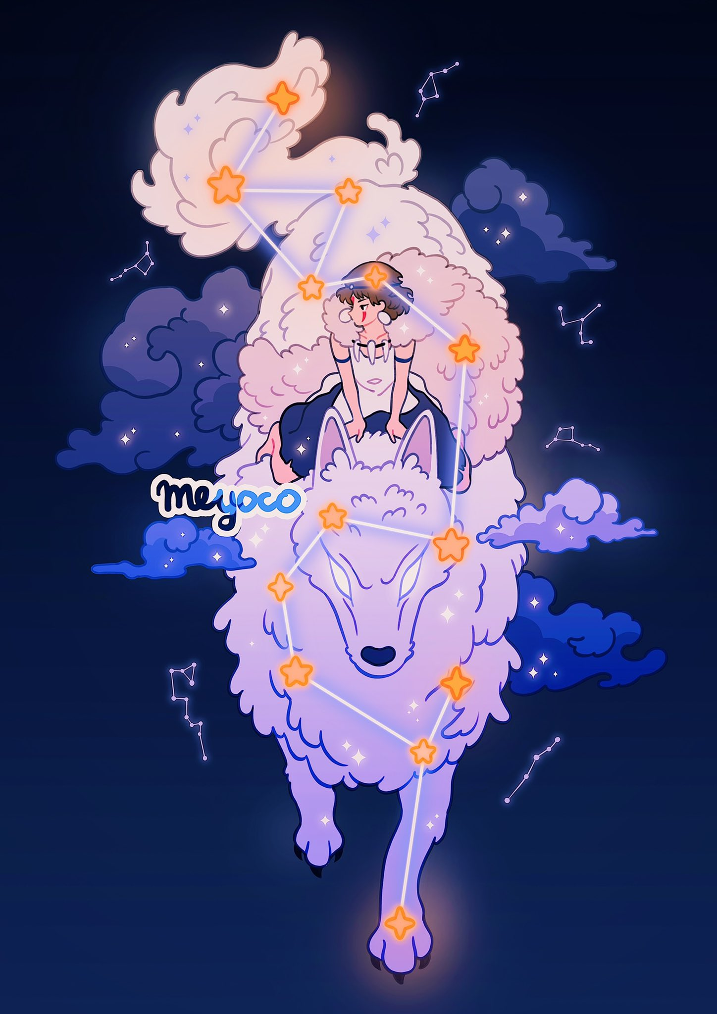 1girl animal artist_name barefoot black_background black_shorts brown_hair clouds constellation earrings facepaint glowing glowing_eyes highres jewelry meyoco mononoke_hime necklace profile riding san_(mononoke_hime) short_hair shorts sparkle tooth_necklace wide_shot wolf