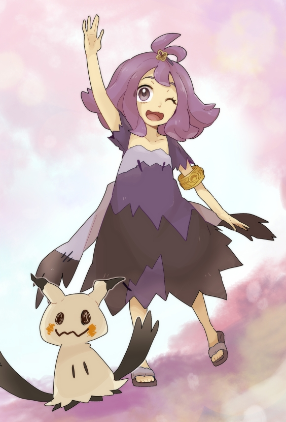 1girl ;d acerola_(pokemon) arm_up armlet bangs chiimako collarbone commentary_request dress eyelashes flip-flops flipped_hair grey_dress hair_ornament hairclip long_hair mimikyu multicolored multicolored_clothes multicolored_dress one_eye_closed open_mouth pokemon pokemon_(creature) pokemon_(game) pokemon_sm purple_hair sandals short_sleeves smile stitches toes tongue topknot torn_clothes torn_dress