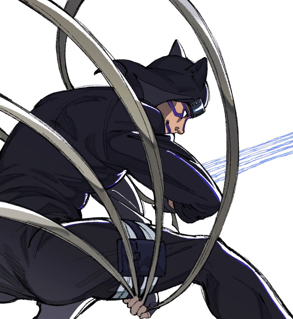 1boy animal_ear_headwear black_pants facial_mark feet_out_of_frame fighting_stance fingerless_gloves forehead_protector from_side gloves kankurou_(naruto) looking_to_the_side male_focus naruto_(series) naruto_shippuuden ninja pants purple_lips short_hair smile solo thighs umkaqryi white_background