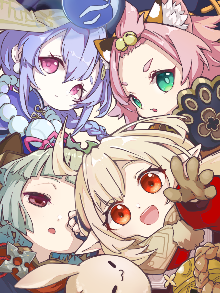 5girls :d ahoge animal_ears bag bangs bangs_pinned_back bead_necklace beads bell black_gloves blunt_bangs braid braided_ponytail brown_gloves brown_hair brown_scarf cat_ears chinese_clothes close-up coat commentary_request diona_(genshin_impact) dodoco_(genshin_impact) earrings eyebrows_visible_through_hair fingerless_gloves forehead genshin_impact gloves green_eyes hair_bell hair_between_eyes hair_ornament hair_ribbon half-closed_eyes han_osamu hat head_tilt highres japanese_clothes jewelry jiangshi klee_(genshin_impact) light_brown_hair long_hair long_sleeves looking_at_viewer low_twintails multiple_girls necklace ofuda open_mouth out_of_frame parted_lips paw_print pink_hair pointy_ears purple_hair qing_guanmao qiqi_(genshin_impact) red_coat red_eyes ribbon rubbing_eyes sayu_(genshin_impact) scarf short_hair shuriken sidelocks silver_hair simple_background single_braid smile thick_eyebrows twin_braids twintails violet_eyes weapon yaoyao_(genshin_impact)