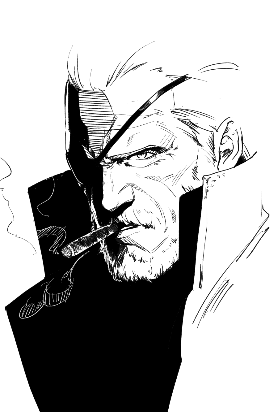 1boy beard cigarette collared_coat eyepatch face facial_hair greyscale hair_slicked_back highres hikichi_sakuya male_focus mature_male metal_gear_(series) metal_gear_solid monochrome mustache old old_man older portrait short_hair sketch smoking solid_snake solo upper_body wrinkled_skin