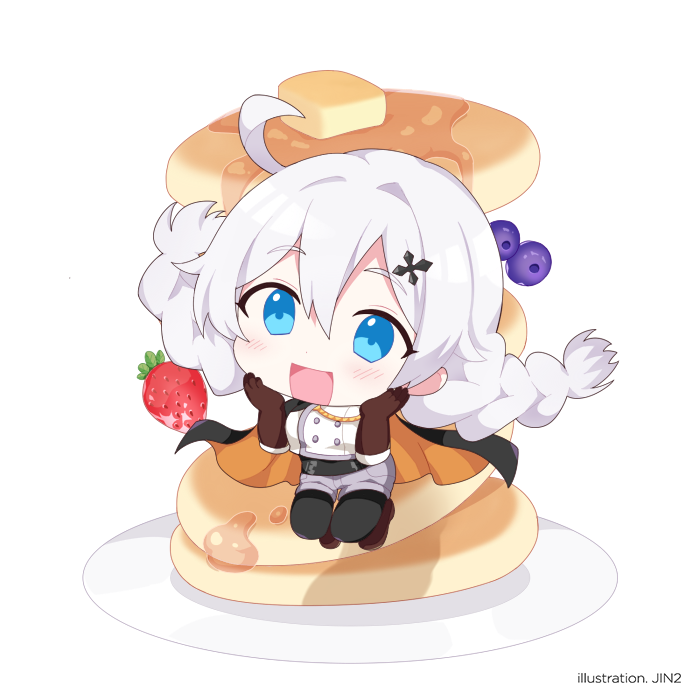 1girl :d antenna_hair bangs blue_eyes blueberry boots brown_footwear brown_gloves chibi food fruit full_body gloves grey_shorts hair_between_eyes hair_ornament hairpin hands_on_own_cheeks hands_on_own_face honkai_(series) honkai_impact_3rd jin2 kiana_kaslana kiana_kaslana_(valkyrie_ranger) long_hair long_sleeves looking_at_viewer open_mouth pancake plate shirt shorts simple_background smile solo strawberry thigh-highs thigh_boots white_background white_hair white_shirt