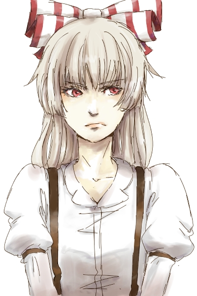 annoyed bow fujiwara_no_mokou grey_hair gyorai hair_bow hair_ribbon lips portrait red_eyes ribbon simple_background solo suspenders touhou