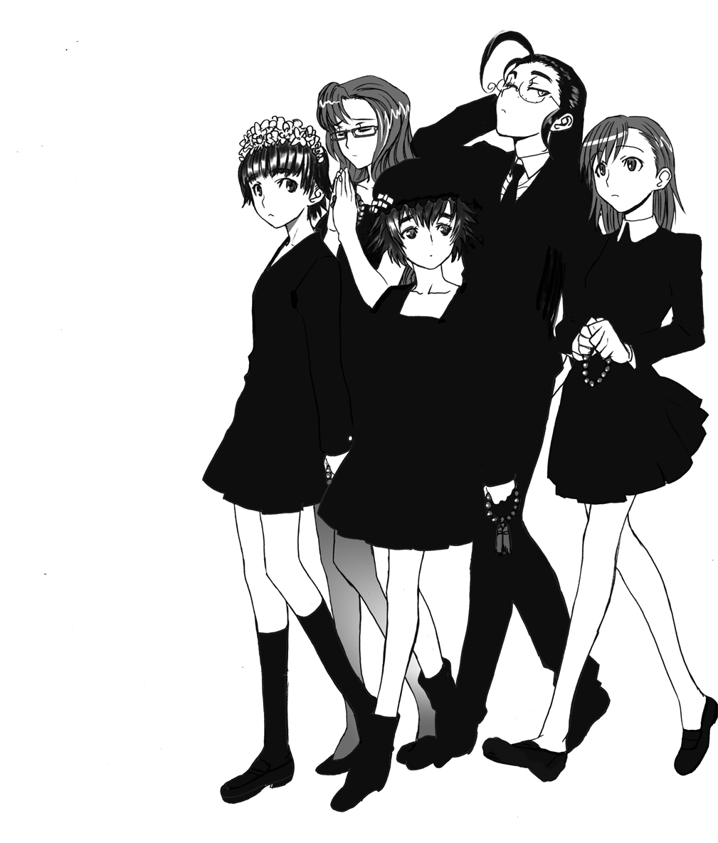5girls ahoge character_request crossover dress flower formal freckles funeral glasses hair_flower hair_ornament hat head_wreath hellsing hiroe_rei kiryuu_moeka legs misaka_mikoto monochrome necktie pantyhose rip_van_winkle shiina_mayuri short_hair skirt_suit steins;gate suit to_aru_kagaku_no_railgun to_aru_majutsu_no_index uiharu_kazari