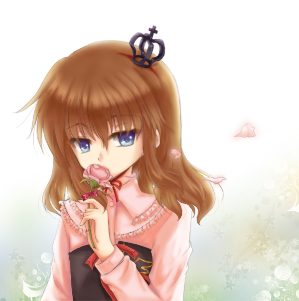 brown_hair crown flower huan_ying long_hair mini_crown petals pink_rose rose umineko_no_naku_koro_ni ushiromiya_maria