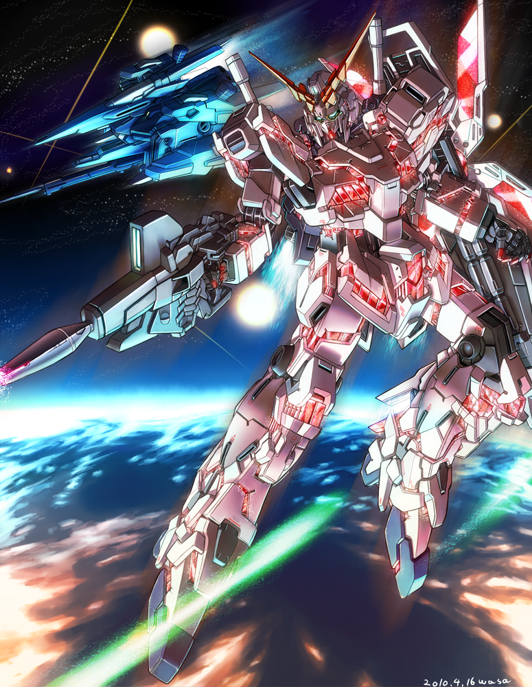 earth energy_beam gun gundam gundam_unicorn mecha nt-d rezel shield space sparkle unicorn_gundam wasabi_(payan) weapon