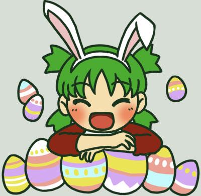 :d ^_^ animal_ears blush rabbit_ears easter easter_egg green_hair koiwai_yotsuba open_mouth quad_tails smile yotsubato!