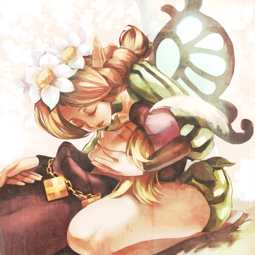 braid chain chains closed_eyes fairy flower hair_flower hair_ornament hand_on_another's_face hand_on_face hat hat_feather ingway lap_pillow lying mercedes odin_sphere pointy_ears tamachi_kuwa wings