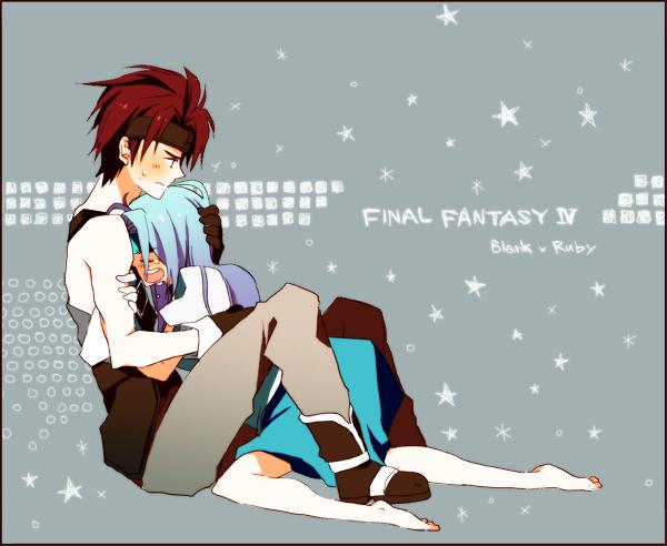 blank blue_hair couple female final_fantasy final_fantasy_ix headband hug long_hair male redhead ruby_(ff9) short_hair sitting stockings thigh-highs yui_(pixiv498859)