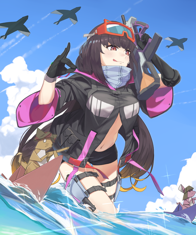 bike_shorts black_gloves black_hair black_jacket black_shorts blonde_hair blue_sky blush breasts brown_hair clouds commentary_request day fate/grand_order fate_(series) gloves goggles goggles_on_head gradient_hair gun holding holding_gun holding_weapon holster jacket large_breasts lempika licking_lips long_hair midriff multicolored_hair navel origami osakabe-hime_(fate/grand_order) osakabe-hime_(swimsuit_archer)_(fate) paper_airplane partially_submerged rifle shikigami shorts sky solo sparkle swimsuit thigh_strap tongue tongue_out very_long_hair walking water weapon
