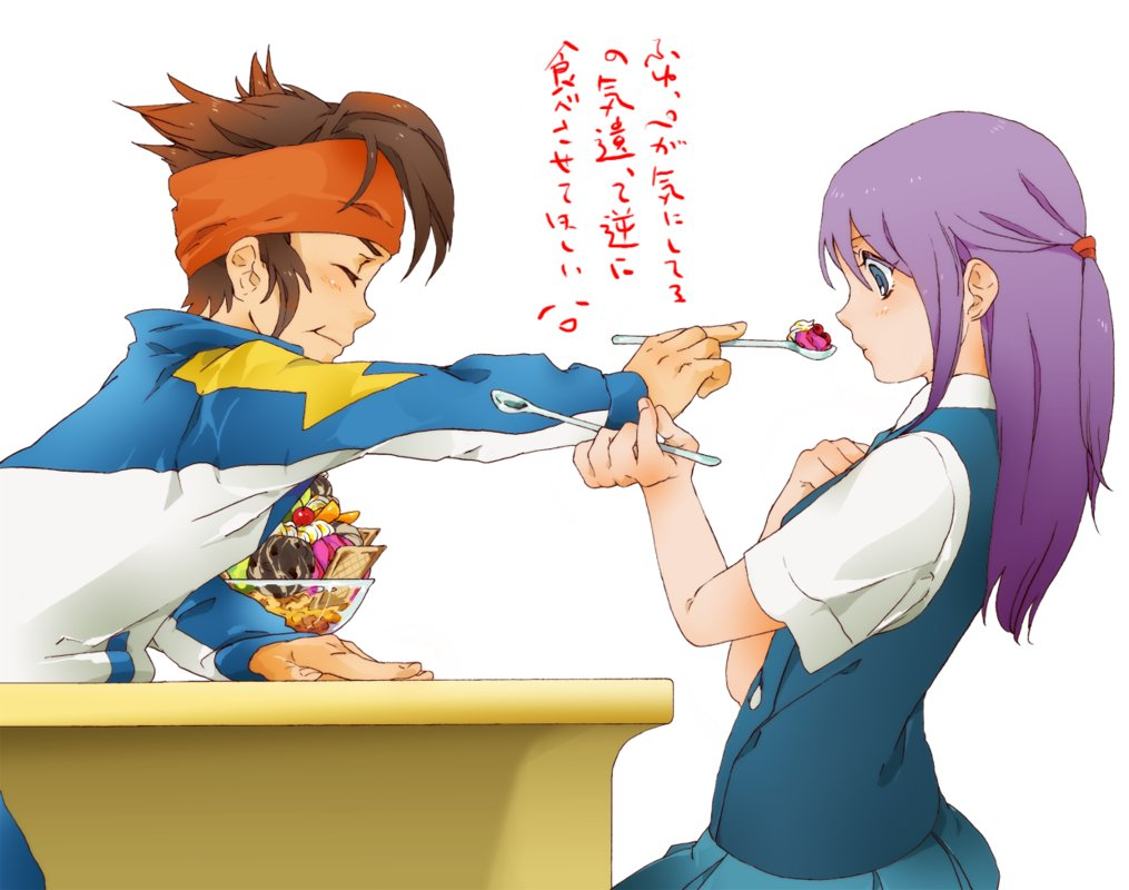 date endou_mamoru hair ice-cream inazuma_eleven kudou_fuyuka purple uniform