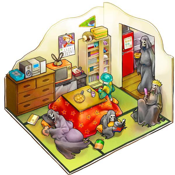 bedroom black_rider floorplan isometric kotatsu matador_(megami_tensei) md5_mismatch nozuchi pale_rider pixiv_thumbnail red_rider shin_megami_tensei table white_rider yoshii_kyoko