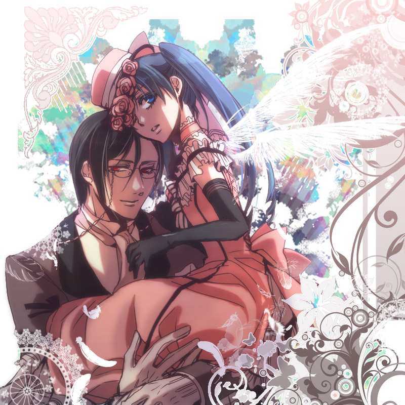 blue_eyes ciel_phantomhive crossdressing dress elbow_gloves flower formal glasses glover gloves hat kuroshitsuji maisie male red_eyes sebastian_michaelis suit trap wings