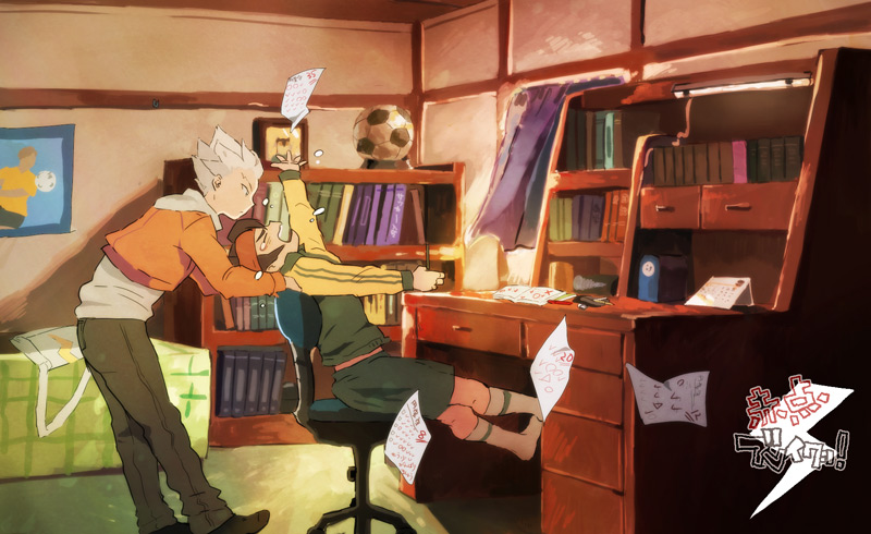 bedroom chair desk endou_mamoru frustrated gouenji_shuuya homework inazuma_eleven multiple_boys paper tears test tests uniform