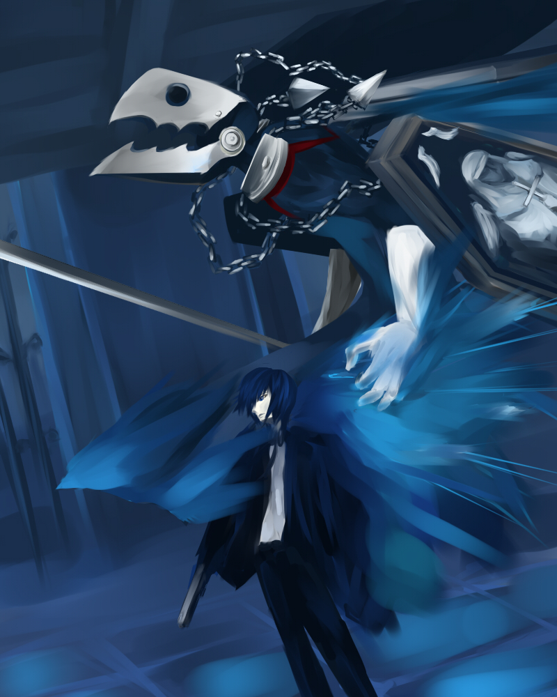 blue_hair faux_traditional_media persona persona_3 sword thanatos weapon