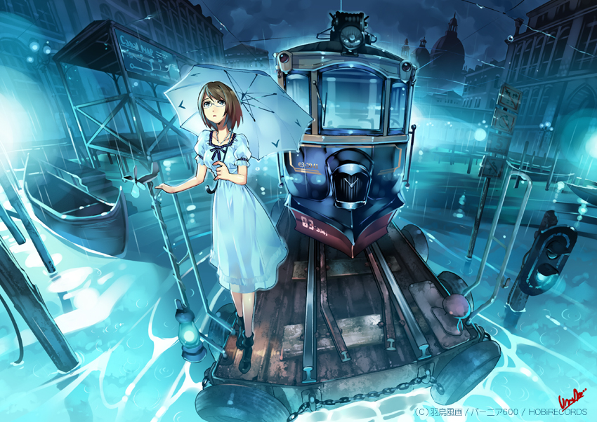 boat brown_hair chain chains cityscape dress fisheye glasses night original power_lines railroad_signal railroad_tracks rain short_hair solo train tram umbrella vania600 water
