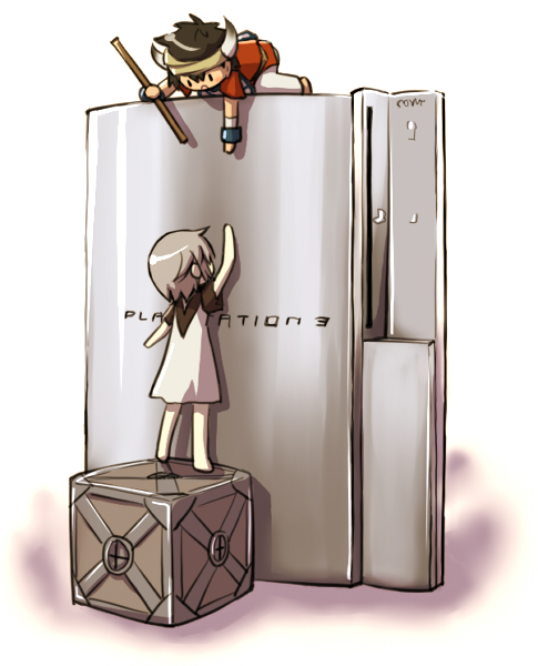 box chibi climbing ico ico_(character) playstation_3 product_placement stick takitate the_ico_&_shadow_of_the_colossus_collection yorda