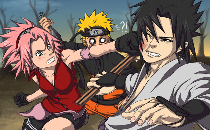 2boys artist_request battle black_hair blackeyes blonde_hair breasts cleavage face_punching female forehead_protector gloves green_eyes haruno_sakura jinchuuriki jumpsuit kunai male naruto o_o pink_hair punch punching short_hair skirt spiky_hair surprised sword team7 teeth uchiha_sasuke uzumaki_naruto weapon