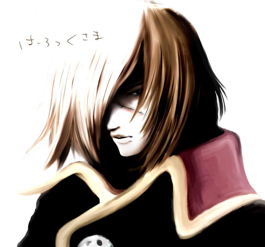 80s bad_id brown_hair cape hair_over_one_eye harlock oldschool scar space_pirate_captain_harlock uchuu_kaizoku_captain_harlock