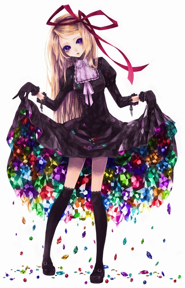 black_thighhighs blonde_hair colorful crystal curtsey dress dress_lift frilled_kneehighs gem gloves gothic hair_ribbon kneehighs koushi_rokushiro lace-trimmed_thighhighs legs long_hair mary_janes original purple_eyes ribbon shoes skirt_basket socks tearra tears thigh-highs violet_eyes