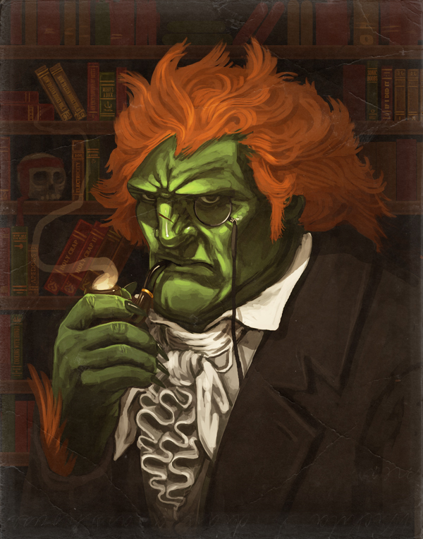 artist_request book bookshelf face green_skin hands mike_mitchell monocle orange_hair pipe skull smoking solo street_fighter