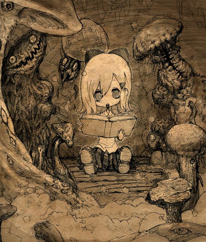 @_@ book bow children's_book comic hair_bow monochrome mushroom original silent_comic solo toi_(number8) traditional_media