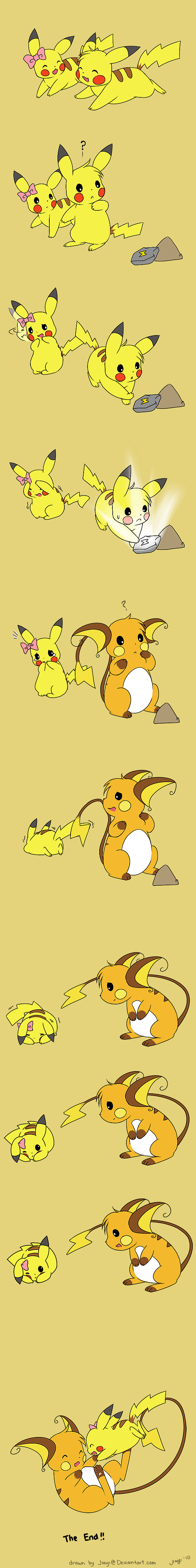 :< :d ? bow evolution happy no_humans open_mouth pikachu playing poke pokemon rock scared simple_background smile tears thunder_stone trembling