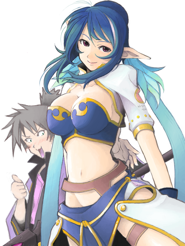 1girl armor blue_hair elf judith midriff mistrail oekaki pointy_ears raven tales_of_(series) tales_of_vesperia thumbs_up white_background