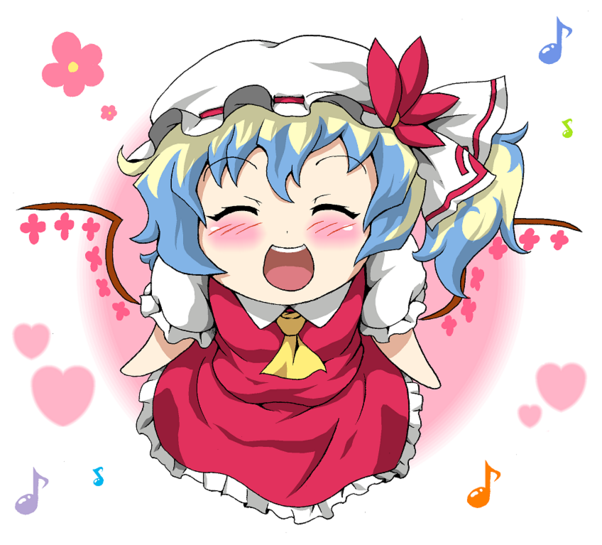 :d ^_^ alternate_wings blush closed_eyes cosplay flandre_scarlet flandre_scarlet_(cosplay) hat heart konton_nabe multicolored_hair musical_note nia_teppelin open_mouth short_hair side_ponytail smile solo tengen_toppa_gurren_lagann touhou wings