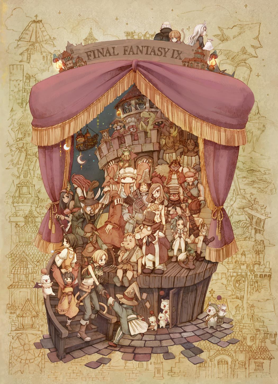 baku baku_(ff9) beatrix black_mage blank brahne castle character_request chocobo cid_fabool_ix cinna com_kom curtains dr.tot eiko_carol everyone final_fantasy final_fantasy_ix fratley freija_crescent freya_crescent furry garland_(ff9) garnet_til_alexandros_xvii highres hippaul kuja lani marcus mikoto moogle nero_brothers puck_(ff9) quale quan quina_quen regent_cid_fabool_ix ruby_(ff9) salamander_coral stage stiltzkin thorn totto-sensei vivi_ornitier zidane_tribal zorn
