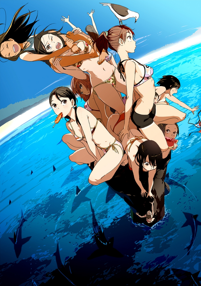 arms_up bikini bird black_hair breasts brown_hair carrying cleavage climbing corndog food fruit mebae mole mouth_hold multiple_girls navel ocean one-piece_swimsuit original ponytail print_bikini school_swimsuit scrunchie seagull shark shoulder_carry side-tie_bikini sideboob striped striped_bikini striped_swimsuit swimsuit tan tanline wardrobe_malfunction water watermelon wince wink