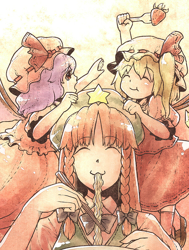 bat_wings blonde_hair braid eating flandre_scarlet food fruit hat hong_meiling long_hair multiple_girls noodles ponytail purple_hair ramen red_eyes red_hair redhead remilia_scarlet short_hair side_ponytail strawberry tears touhou twin_braids urin wings