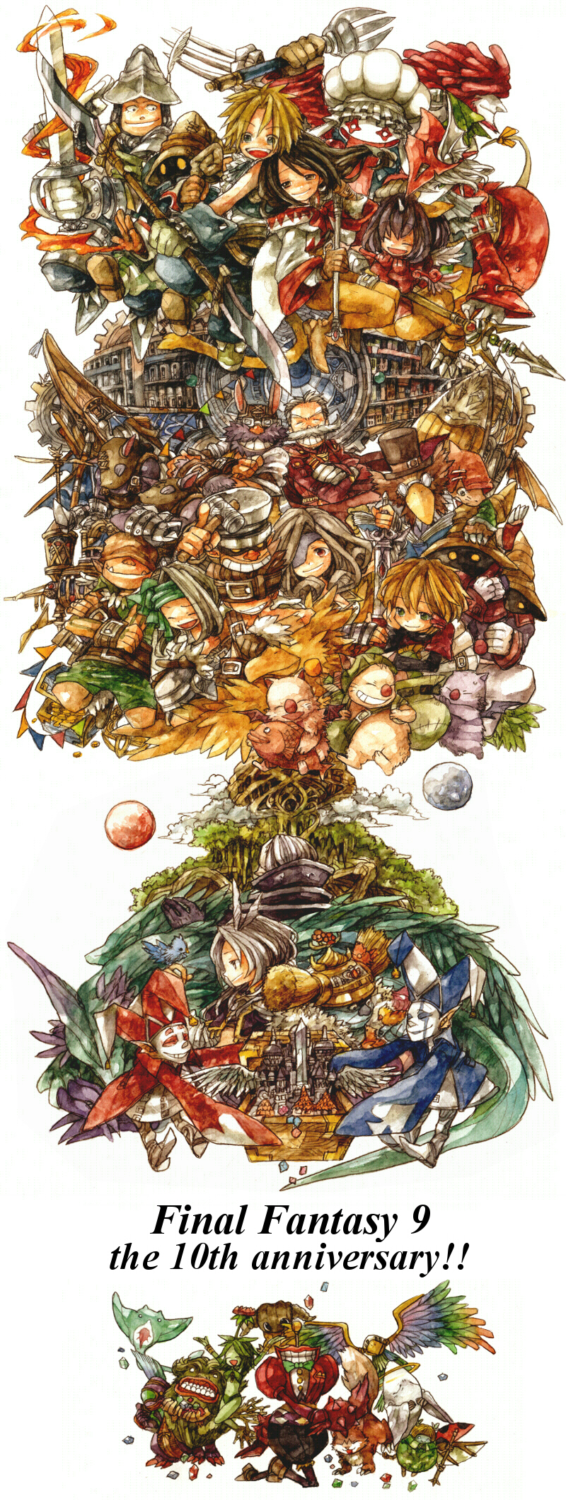 adelbert_steiner alexander alexander_(final_fantasy) beatrix black_hair black_mage blonde_hair brahne_raza_alexandros_xvi brown_hair character_request cid_fabool_ix eiko_carol everyone final_fantasy final_fantasy_ix fork freija_crescent garland_(ff9) garnet_til_alexandros_xvii gloves highres ina_(gonsora) kuja mikoto monster moogle quina_quen salamander_coral short_hair sword tail thorn tree vivi_ornitier weapon white_mage zidane_tribal zorn
