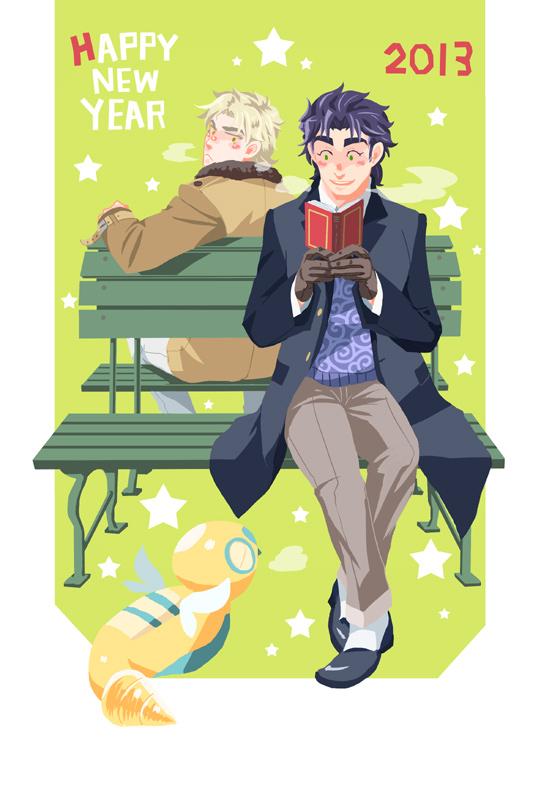 2boys bench blonde_hair blue_hair book breath crossover dio_brando dunsparce green_eyes jojo_no_kimyou_na_bouken jonathan_joestar kuma86 multiple_boys pokemon pokemon_(creature) pokemon_(game) pokemon_gsc red_eyes